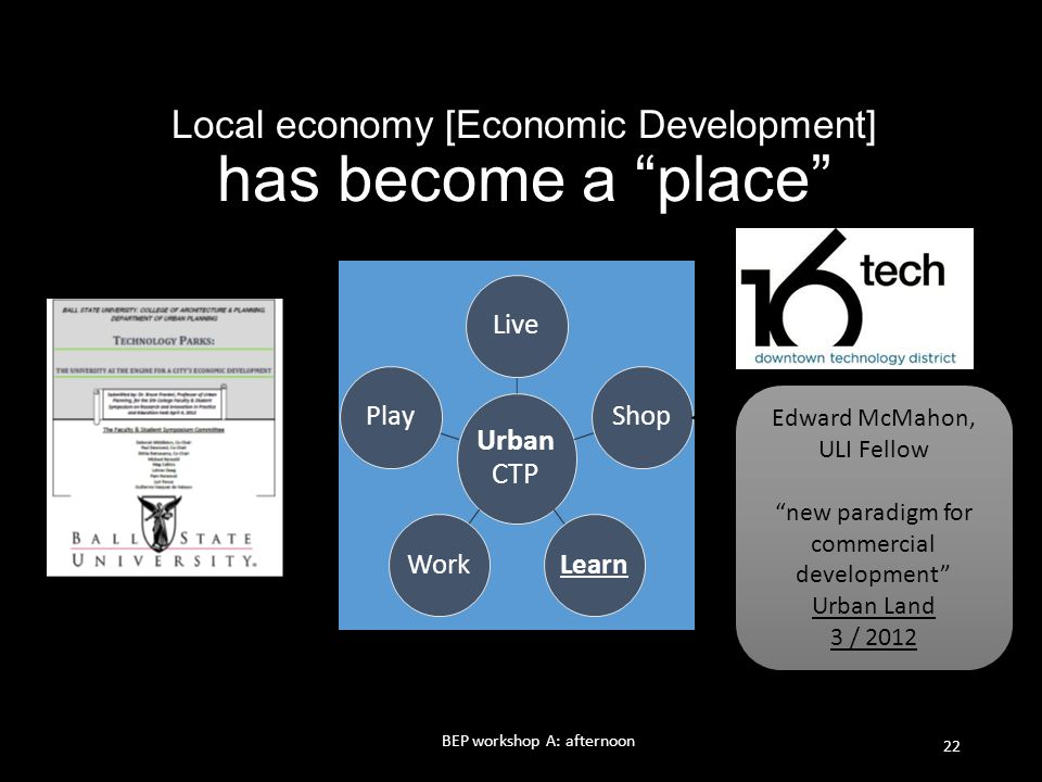 Local economy [Economic Development] has become a place